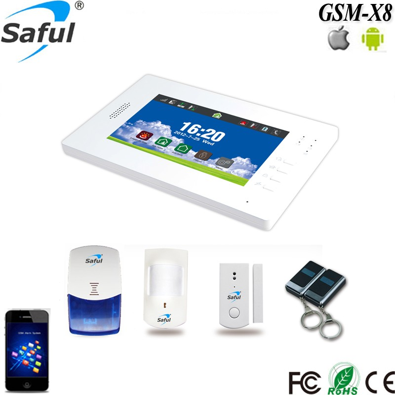 Saful GSM +PSTN 7 inch full touch color screen wireless gsm alarm system/ burglar alarm