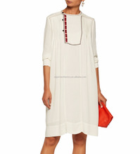 STb-0337 Summer Simple Style Cream Embroidered Crepe Dress Wholesale Long Sleeve Women Clothing