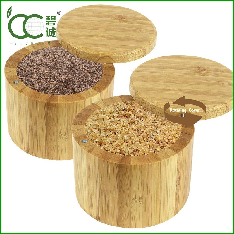 Eco-friendly Cheap Round Bamboo Rice Box,Salt Boxes,Food Boxes with Megnetic Lid