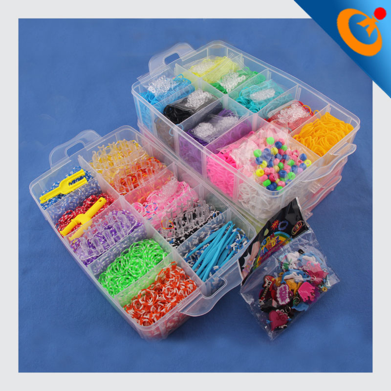 wholesale DIY rainbow colorful rubber loom band kit and refill DIY rainbow rubber band bracelet colorful latex free loom band