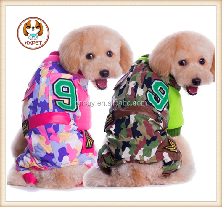 New year 2015 Hot sale Dog Camouflage XXL Dog Costumes Wholesale pet jumpsuit for Dog Products Camo Coat Pink/Green