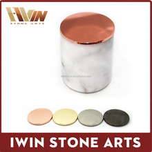 cheapest natural stone carrara marble candle jar with copper lids,marble jar with lid