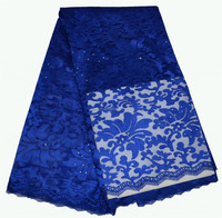 Royal Blue African Tulle Lace Fabric For Lady, Fahion Stones Embroidery Design Mesh Lace, French Net Lace For Pary XZ93628c-1