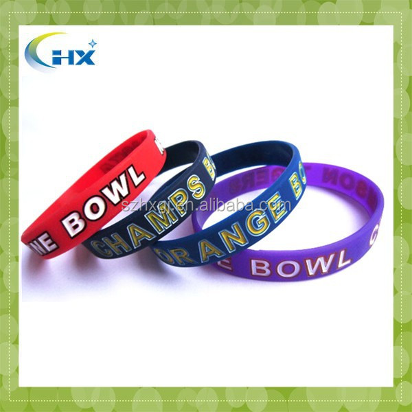 Cheap sale custom made colorful rubber name bracelet