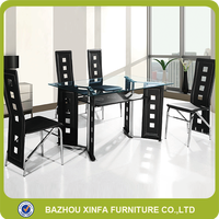 Cheap wholesale PVC metal legs tempered glass dining table and chairs