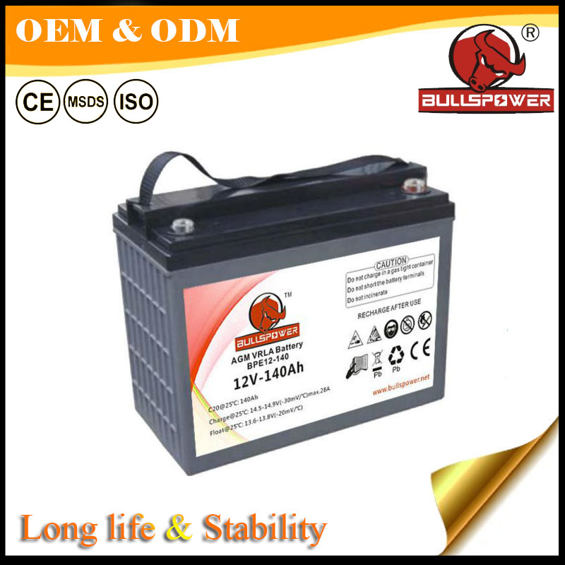 Dry charge 12v 140Ah ElectricTricycle battery with tubular positive plate