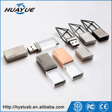 Manufacturer For Wooden Crystal USB Metal Hollow Out USB Metal Plating Drawing U disk Can The Crystal Inside Carving Logo