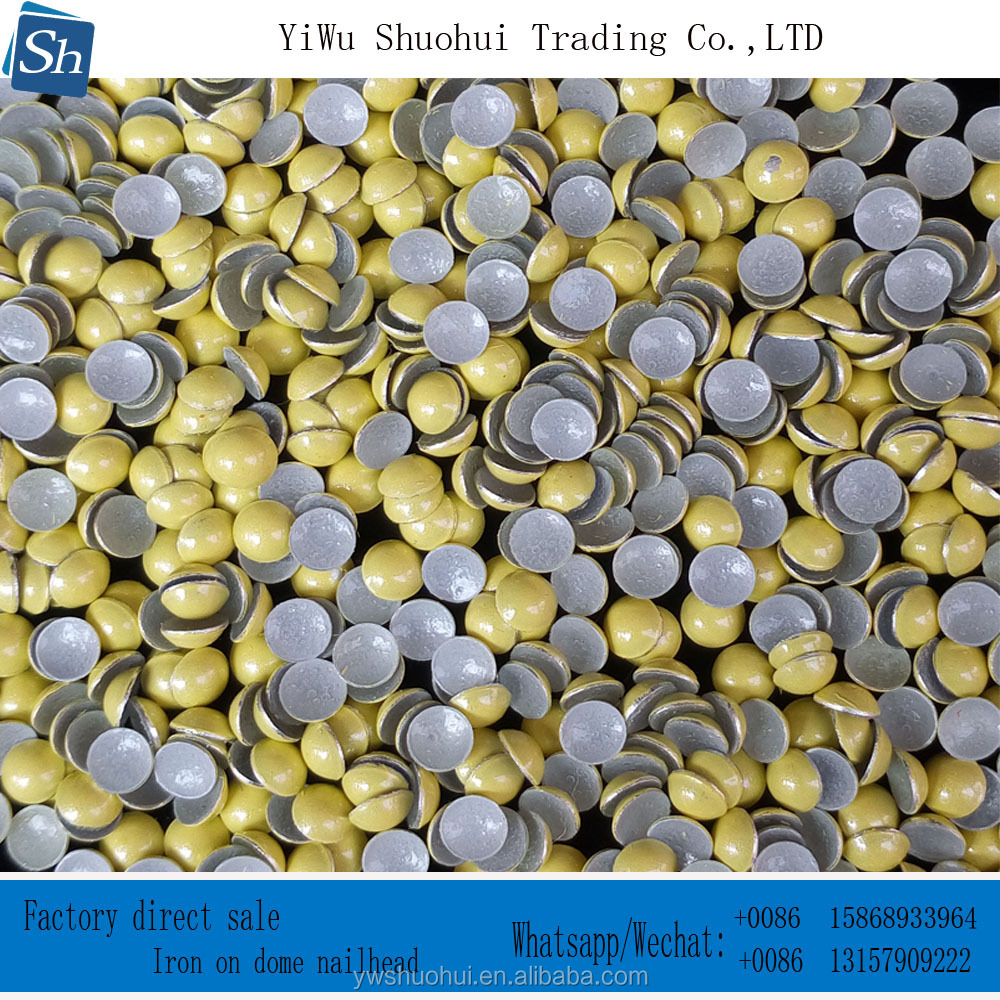 factory sale hot fix nailhead 4MM yellow iron on dome half pearl