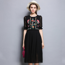 Elegant and aristocratic embroidered stripe dress with bat sleeves dress