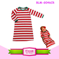 2017 Wholesale Children's Boutique Clothing Baby Newborn Night Gown Girls Kids Infant Red Striped Christmas Pajamas