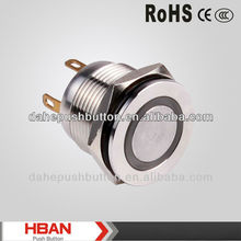 CE ROHS flat head ip67 protection degree momentary push button <strong>switch</strong>, LED illuminated <strong>switches</strong>