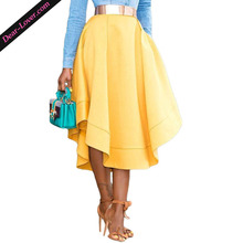 Yellow Making Waves High Waisted Midi Skater Skirt