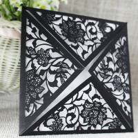 Black Color Die Cut Designer Unique Blank Wedding Card