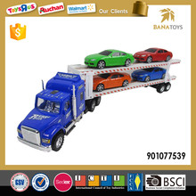 Hot sale plastic moving truck toy with 4 car for children