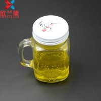 Embossed pattern mason jar with handle and metal lid/straw