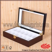 Custom Wooden Tea Box With 12 Compartments With Clear Windows