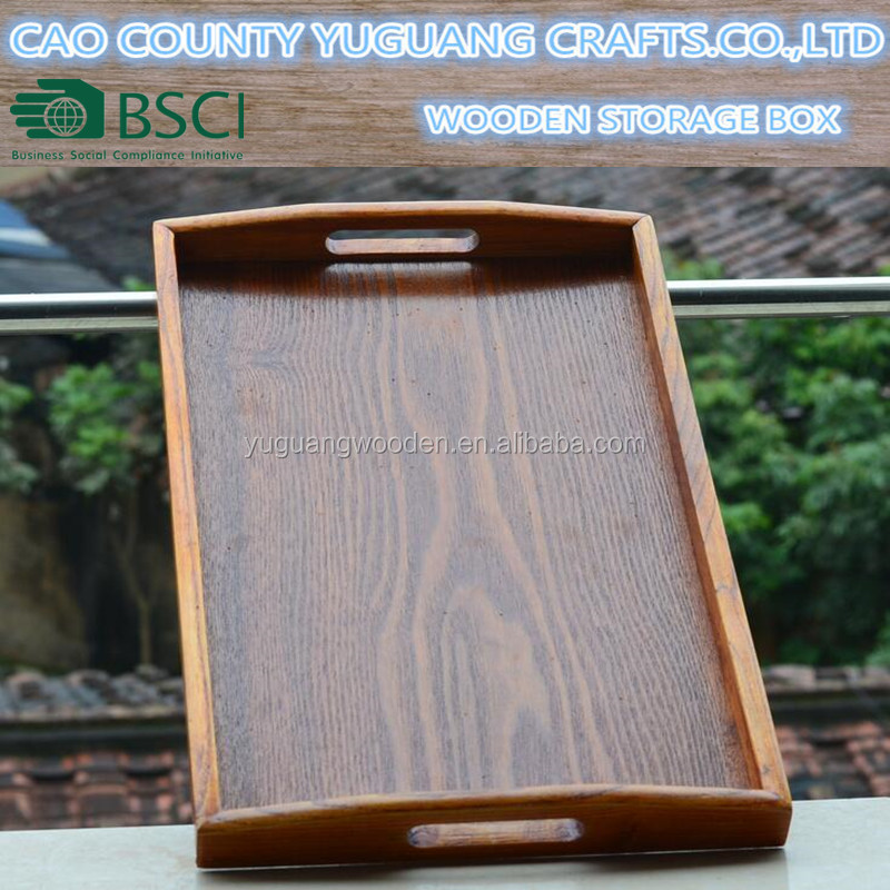 Hand Crafted wooden serving tray with curved handles