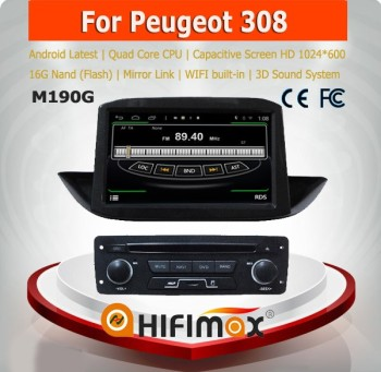 HIFIMAX Android 4.4.4 car dvd player for Peugeot 308 WITH Capacitive screen 1080P 16G ROM WIFI 3G INTERNET DVR SUPPORT