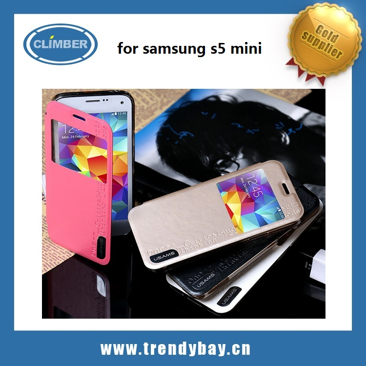USAMS brand merry series stand flip for Samsung Galaxy S5 mini Leather Case