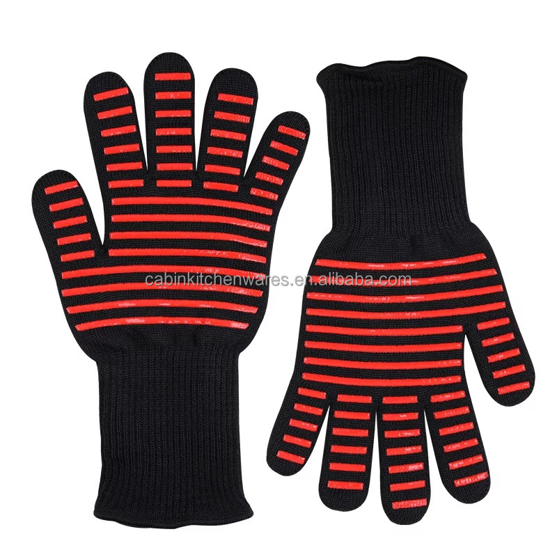 14 inch Professional Heat Resistant Oven BBQ Gloves Kitchen Gloves with Silicone Grip for Food