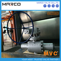 Professional supply oil and gas pipeline flanged and butted end trunnion type standard api 6d approved ball valve