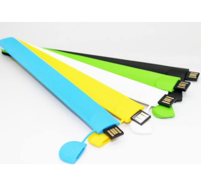 Silicone Slap Bracelet Usb Memory Sticks, Custom Color Bracelet 32gb 16gb 8gb Usb 2.0 Flash Drive With Free Logo Design