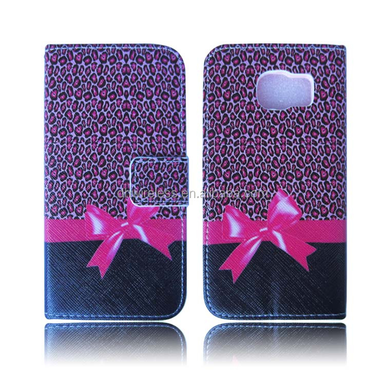 hot pink leopard design wallet case for samsung galaxy S6 ,card slot cover for samaung s6