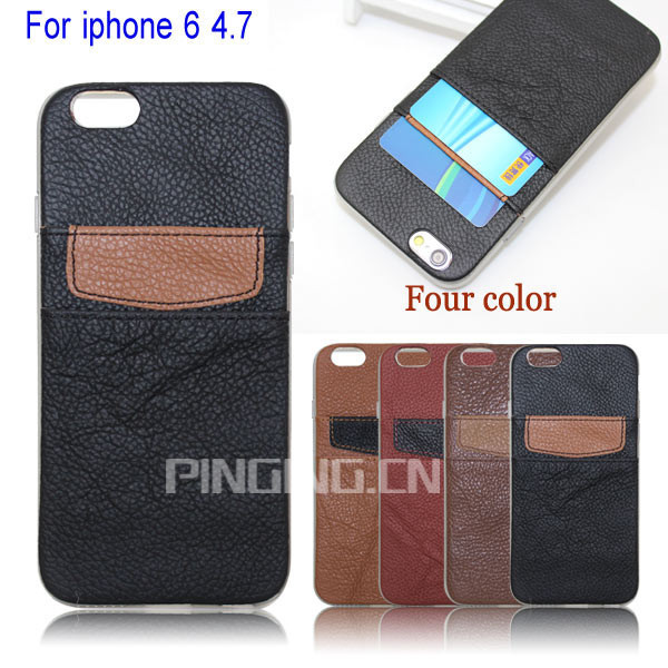 Alibaba China Supplier Genuine Bar Leather Case For Apple iPhone 6 With ID Credit Card Slot