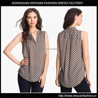 Sleeveless Dot Print Blouse with High Low Hem