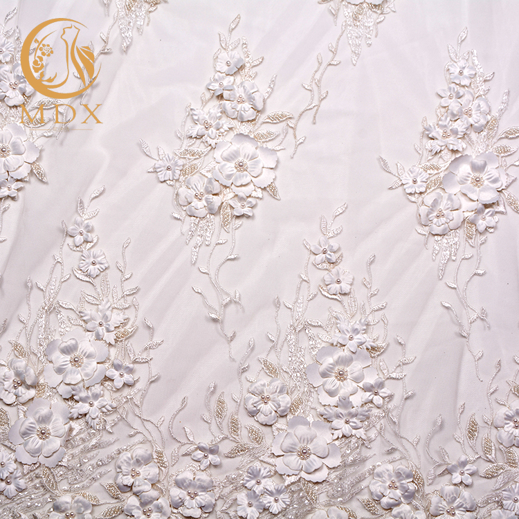 White knitted hand work embroidery patterns designs lace fabric for sale