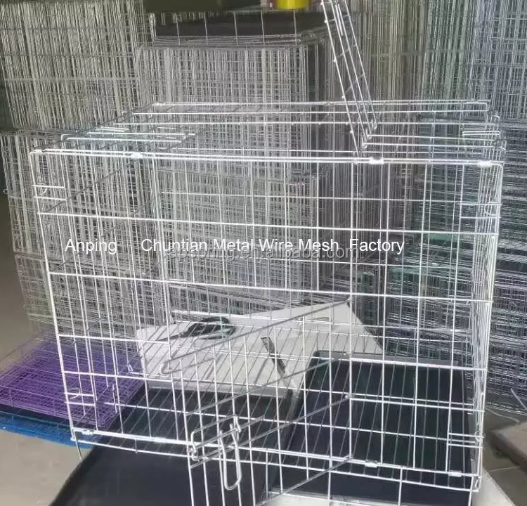 Export Low Price Powder Coated Black Color Kennel Folding Dog Cage