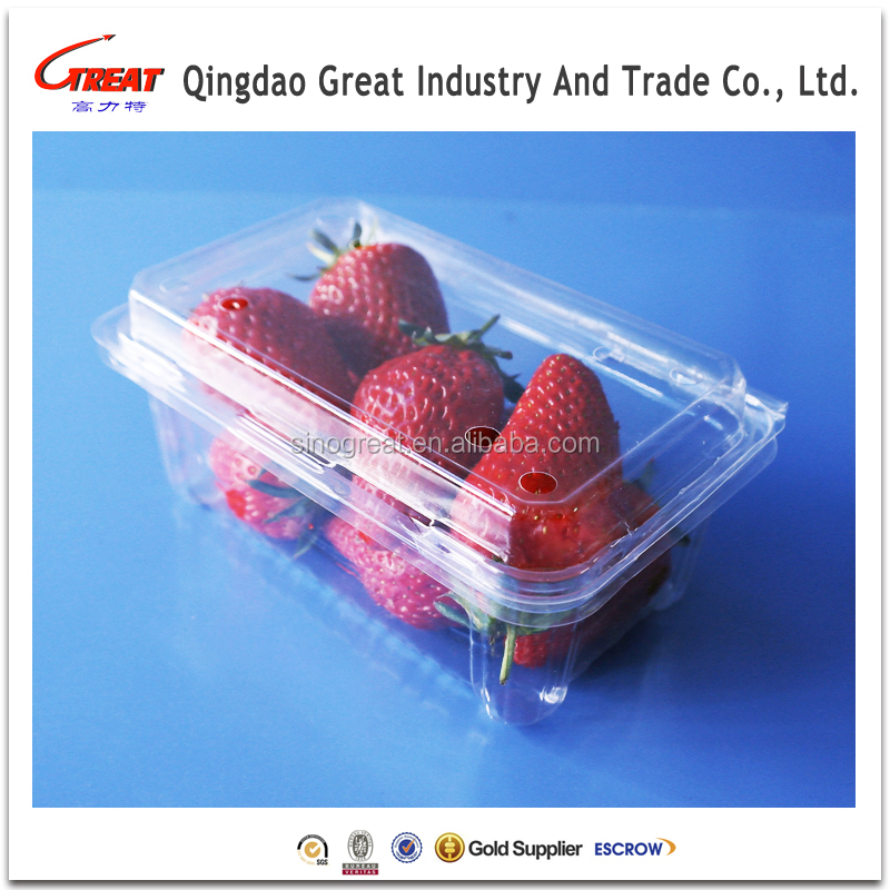 Plastic Strawberries Punnet, Blister Fruit Packaging Clamshell Box