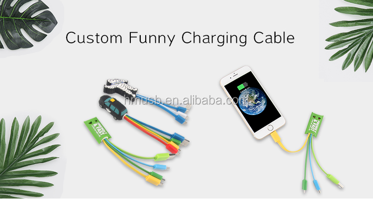 Tower shape custom pvc charging type-c charger cable with logo design