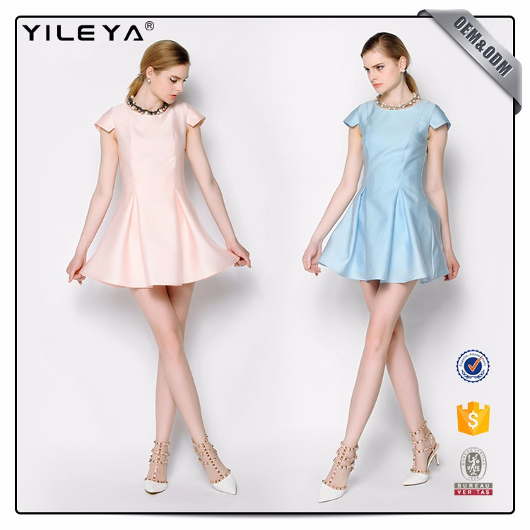 Round Collar Solid Color Cheap Summer Dresses For Juniors
