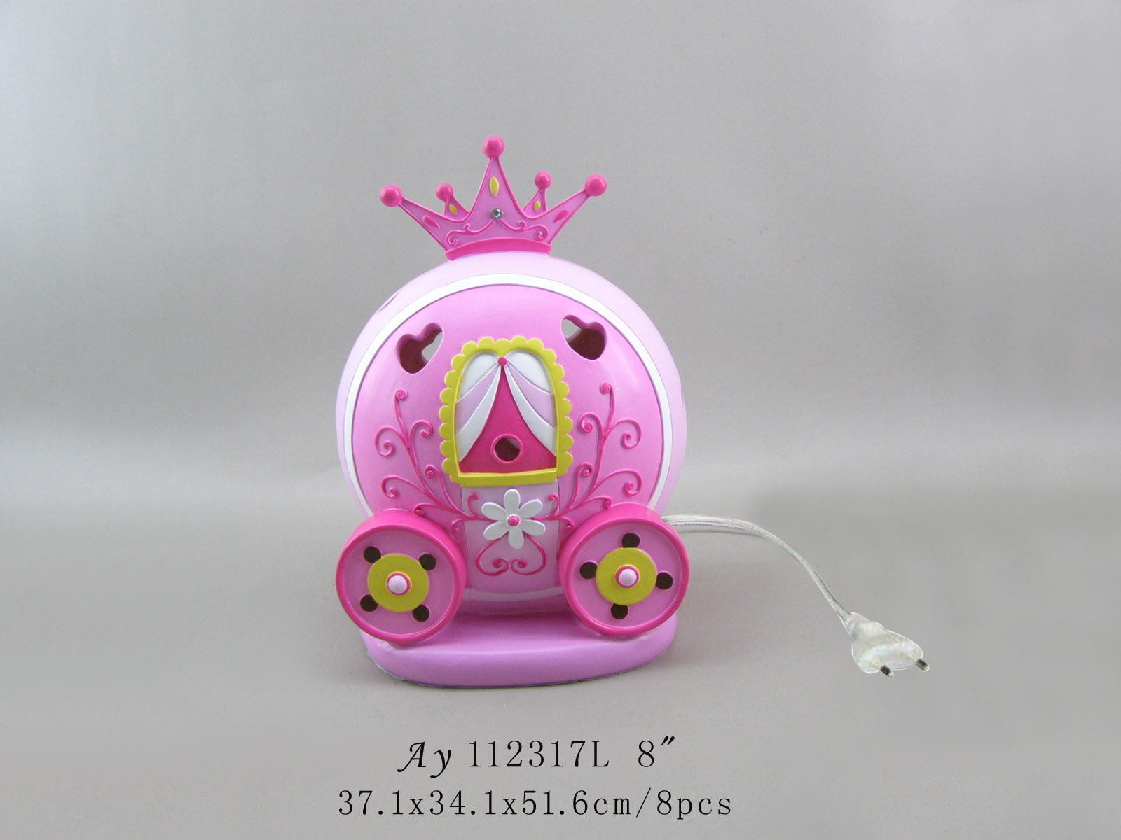 Crown the carriage shape resin kids night light