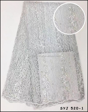 Soft French lace fabric White Beads Stones High Quality Light Tulle mesh lace for Women Dress African net Lace fabric