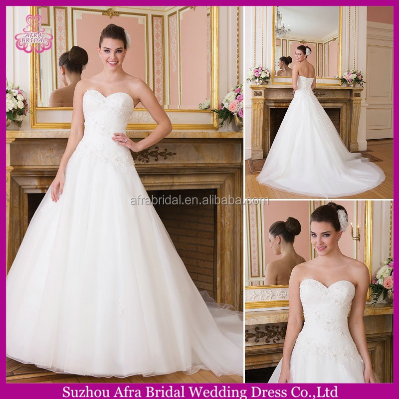 SD2267 sweetheart appliqued cheap bridal dress china guangzhou wedding dress factory