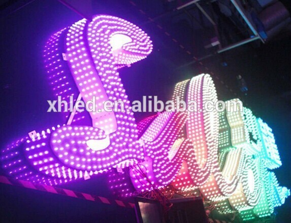 RGB full color programming outdoor big lighted LED sign letters of metal finish