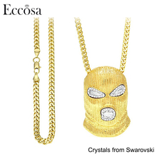 Eccosa Customized Hip Hop Alloy Gold Plated Made with Crystals from Swarovski Mask Pendant Chain Necklace Designs