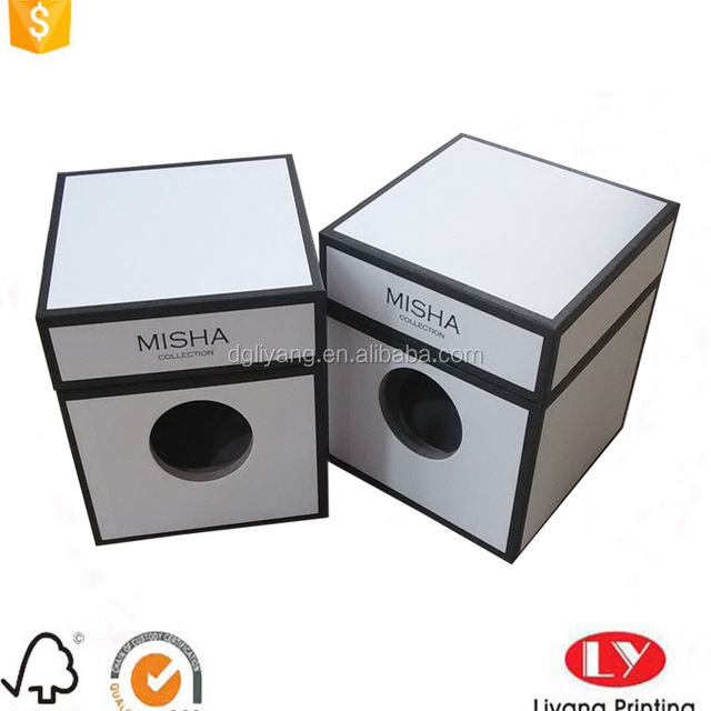 personalized white candle paper packaging box with black frame printing design