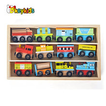 Top selling 12 PCS wooden toy train collection for kids W04A378