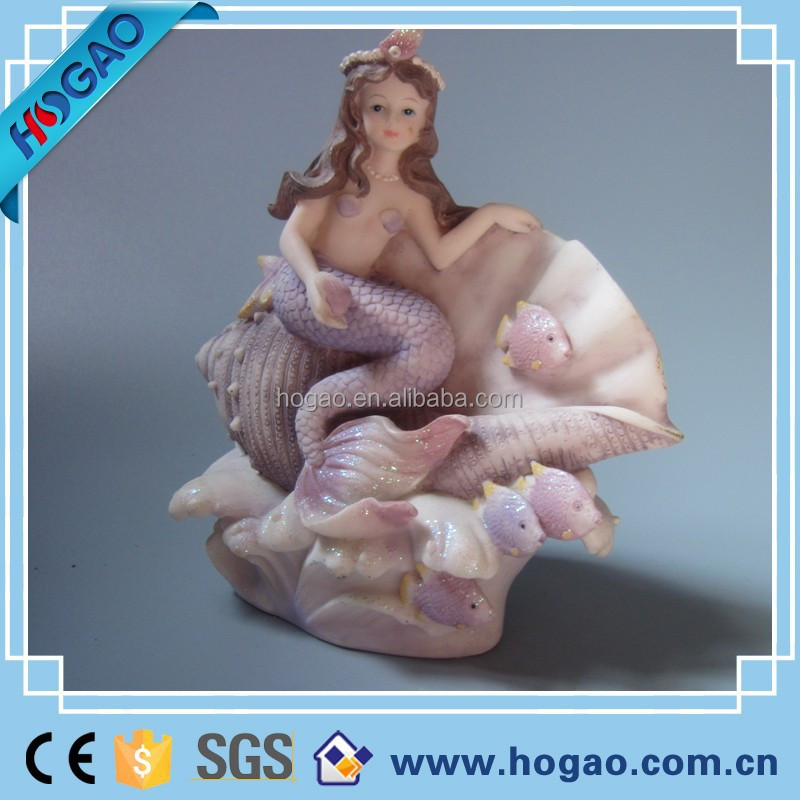 OEM ODM resin statue mermaid in conch for home decoration