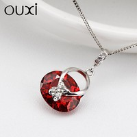 OUXI fashion red crystal silver indian jewelry necklace Y30140