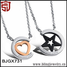 316L Stainless Steel Jewellry Heart and Star Design Initial Necklace for Lovers
