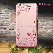 Beautiful secret garden flower electroplated diamond mobile phone case for iphone 7 7 plus