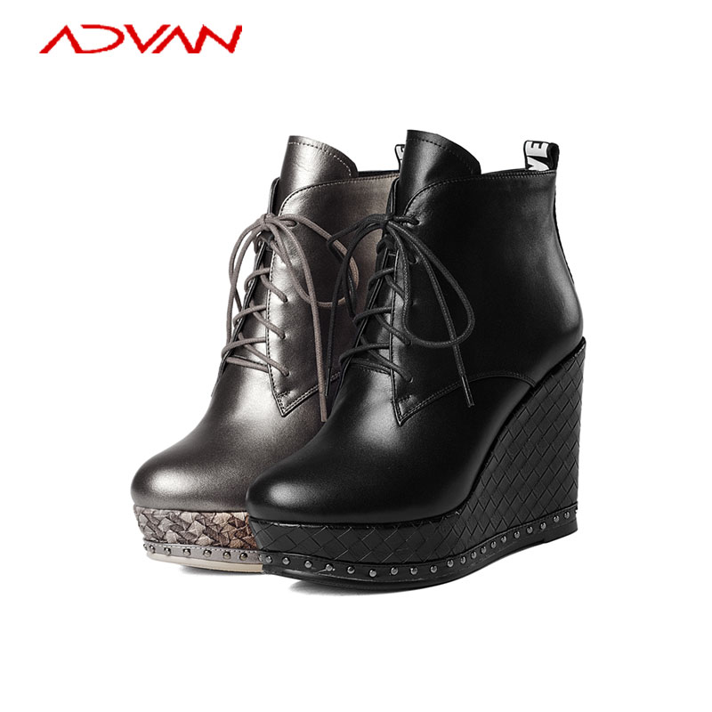 Sexy Platfrom Boots Women Black Wedge Heel Solid Round Toe Cross Strap Boots