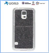 Case for Samsung Galaxy S5, Glitter Bling Crystal Rhinestone and Brushed Chrome Hard Steel Aluminum case for samsung s5