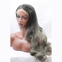 Natural Looking Synthetic Wavy Lace Front Black Mixed Grey Wig For Black Women Cheap High Quality Synthetic Ombre Grey Wigs Sale