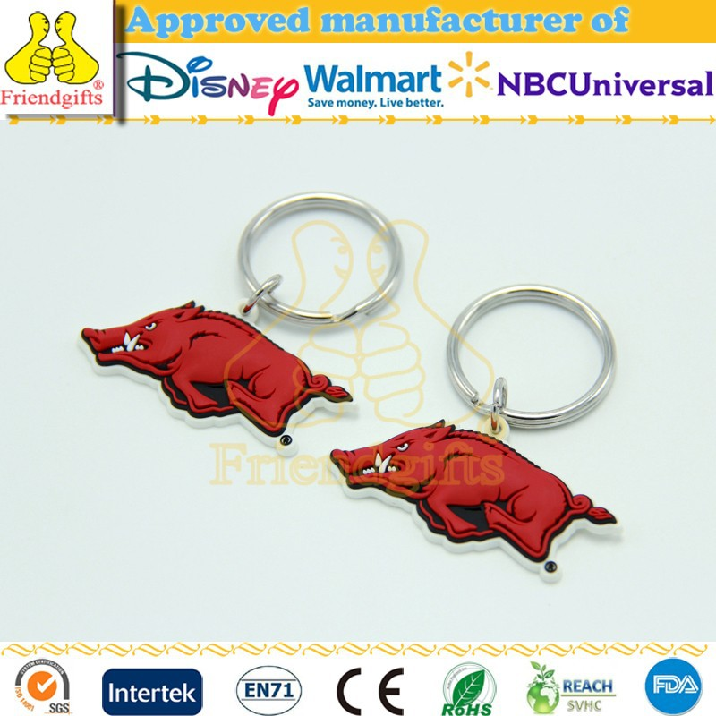 Custom 3d soft pvc keychain animal shape key chain soft rubber keychains pvc keyring