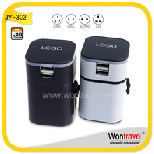 JY-302 2 USB Port Universal International Plug World Travel AC Power Charger Adaptor swiss travel adapter